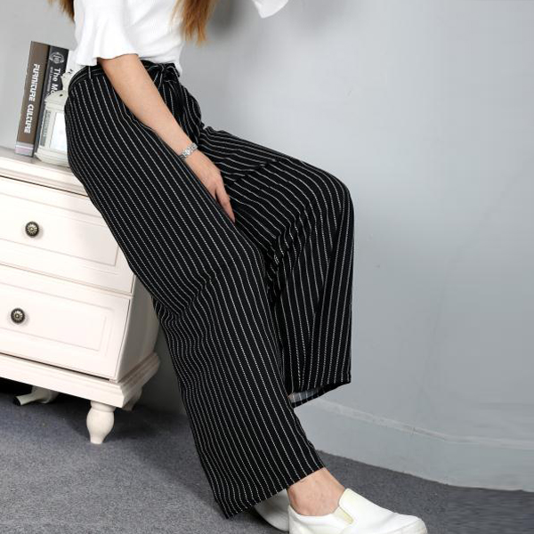 Thin Stripes Patterned Loose Women Trouser