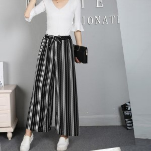 Stripes Patterned Loose Women Trouser - Black And White