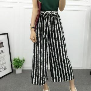 Casual Wear Stripes Patterned Loose Women Trouser