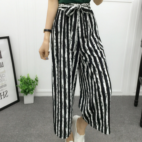Casual Wear Stripes Patterned Loose Women Trouser