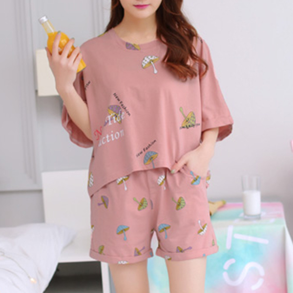 Printed Two Pieces Loose Casual Summer Suit