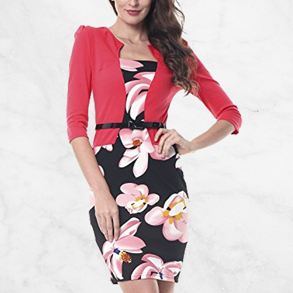 Fake Two Piece Floral Red Pencil Skirt Dress