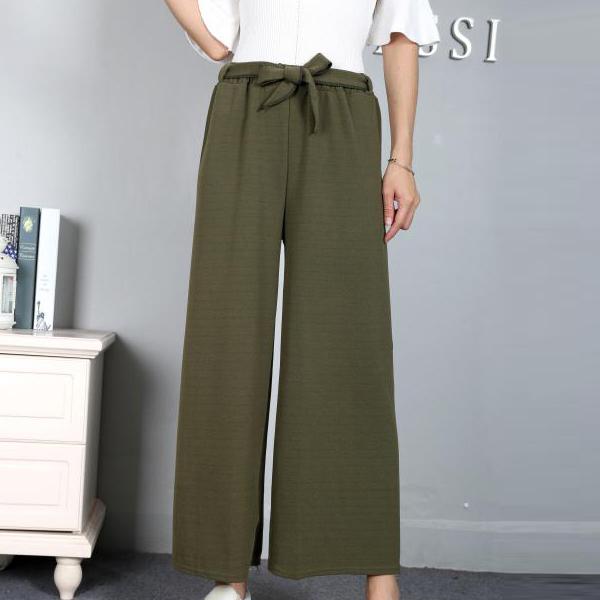 Waist Belt Loose Style Bottom Trousers - Green