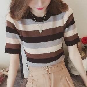 Colorful Stripes Half Sleeves T-Shirt - Brown