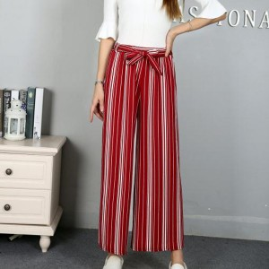 Waist Belt Loose Style Striped Bottom Trousers - Red