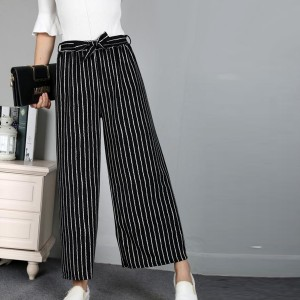 Waist Belt Loose Style Bottom Trousers - Black