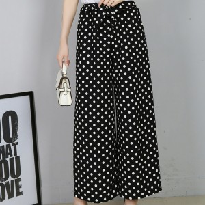 Polka Dots Straight Bottom Women Trousers