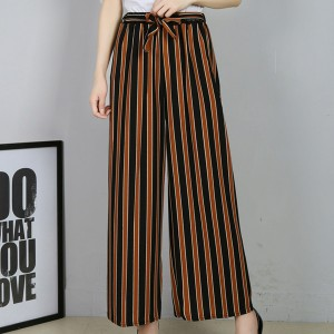 Striped Straight Bottom Waist Belt Women Trousers - Red
