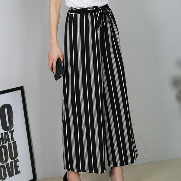 White Stripes Straight Waist Belt Trousers - Black