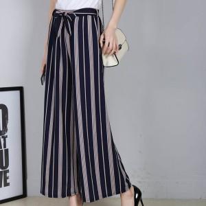 Stripes Straight Waist Belt Trousers - Dark Blue