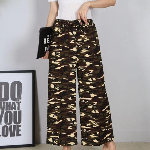 Camouflage Printed Straight Bottom Women Trousers - Brown