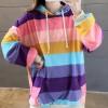 Colorful Stripes Sting Adjustment Hoodie T-Shirt -Pink