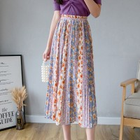 Floral Prints Pleated Casual Wear Skirt - Multicolor