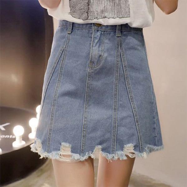 Denim Pleated Stitched Trendy Mini Skirt - Blue