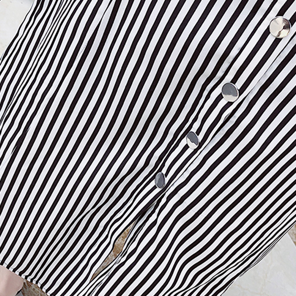 Round Neck Striped Waist Belt Skirt With Top