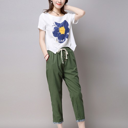 Button Fly Narrow Trousers With Blouse Suit - Green