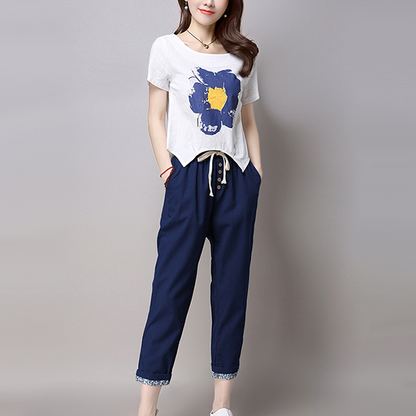 Button Fly Narrow Trousers With Blouse Suit - Blue
