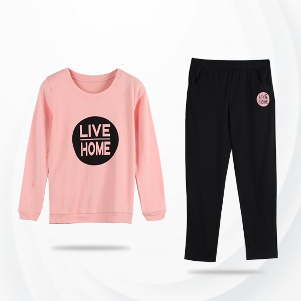Contrast Pink T-Shirt With Black Bottom Trousers