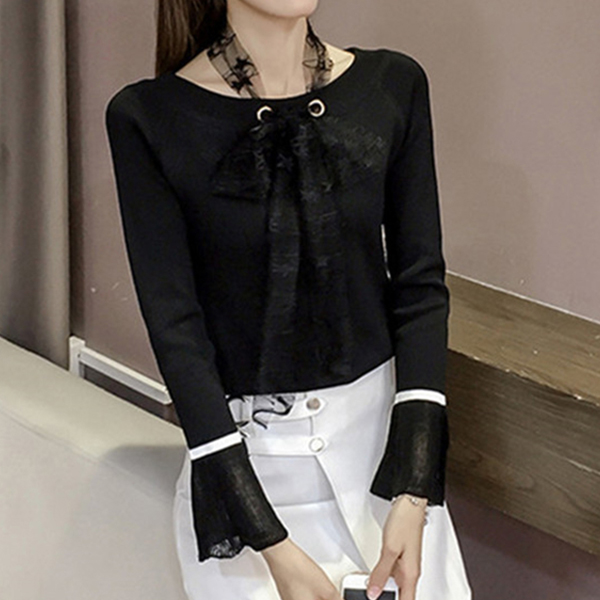 Office Casual Wearing Long Sleeves Female Shirt - Black