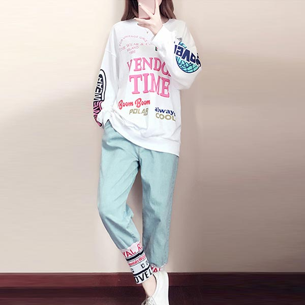 Long-sleeved Loose Casual Shirt Two-piece Dress - Multi