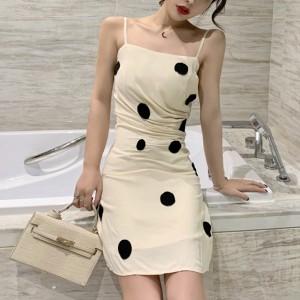 Polka Prints Strap Mini Summer Dress - White