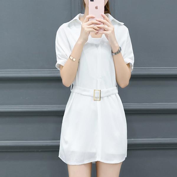 Shirt Collar Solid Waist Belt Mini Dress - White