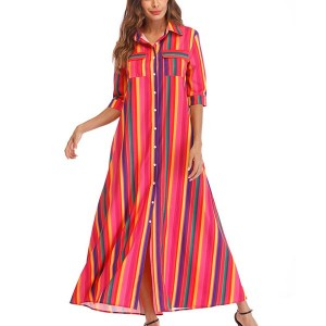 Double Pockets Stripe Rainbow Ladies Dress - Multi Color