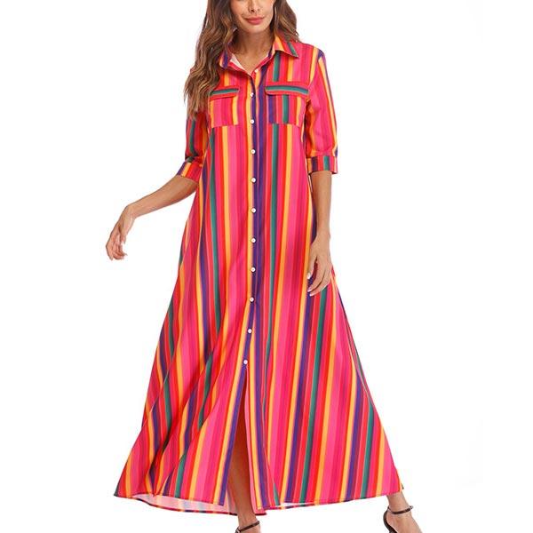 Double Pockets Stripe Rainbow Ladies Dress - Multi Color