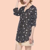 Black Stars Printed V Neck Knotted Mini Dress