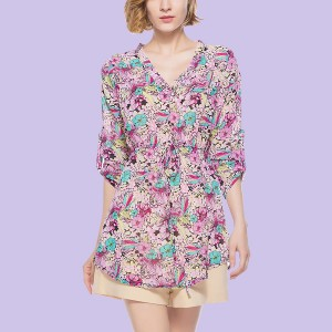 Multicolor Floral Printed V Neck Knotted Mini Dress