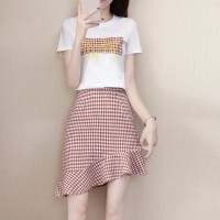 Slash Skirt Printed Checks T-Shirt Two Pieces Suit