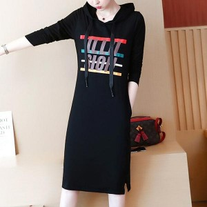 Silhouette Cotton Hooded Casual Ladies Dresses - Black