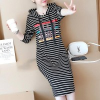 Silhouette Cotton Hooded Casual Ladies Dresses - Black White