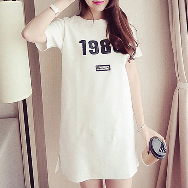 Solid Color Printed Text T-Shirt Dress - White