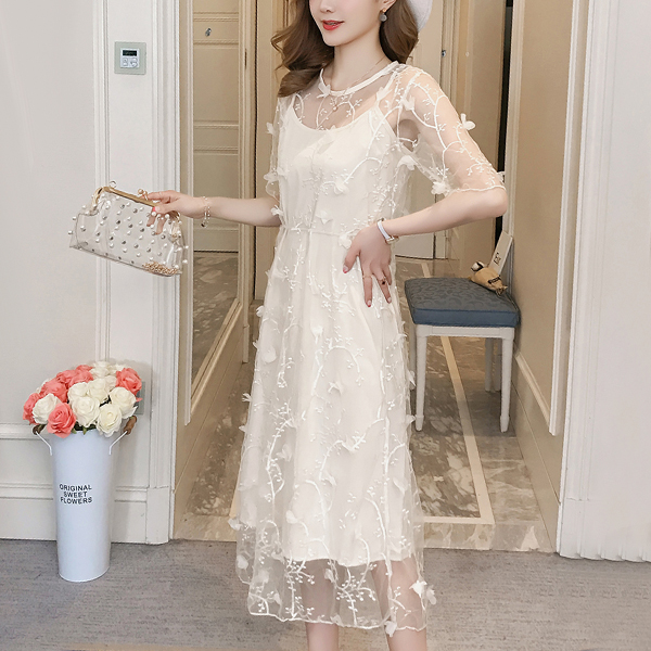 Net Embroidery Boat Neck Party Dress - White