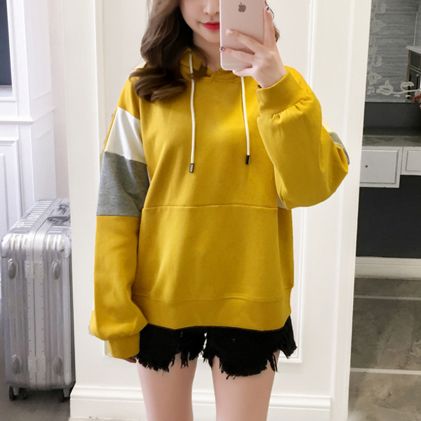 Patched Contrast Colorful Loose Hoodie T-Shirt - Yellow