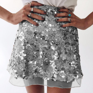Shiny Decorated Mini Party Skirt