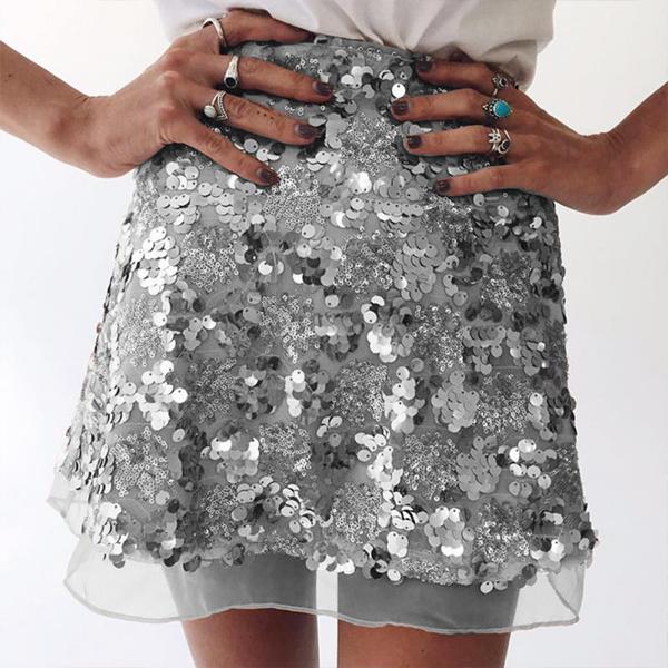 Shiny Decorated Mini Party Skirt