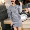 Mini Skirts Long Sleeves Two Piece Dress - Gray