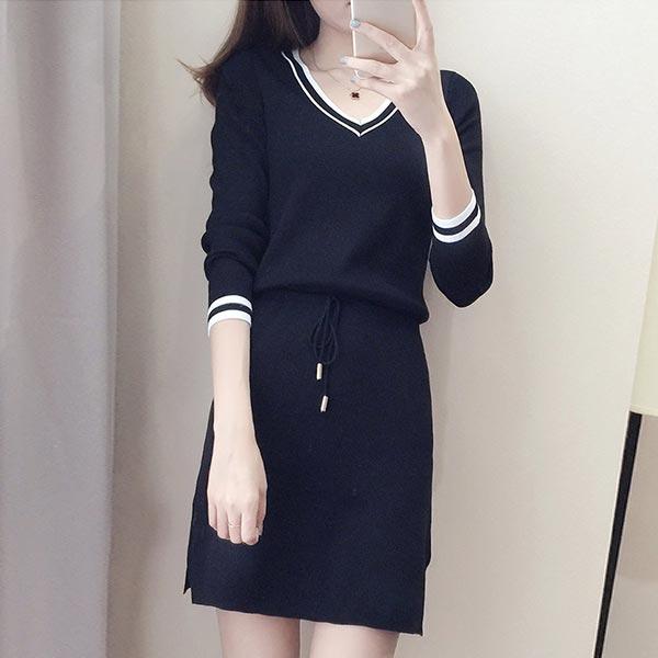 Long Sleeve Skirt Two Piece Women Dress - Black