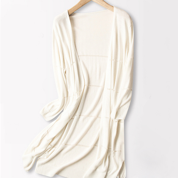Open Style Full Sleeves Long Cardigan - White