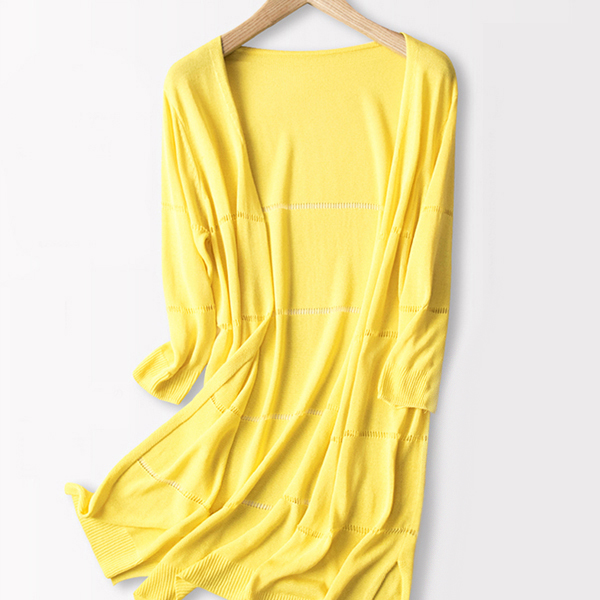 Open Style Full Sleeves Long Cardigan - Yellow