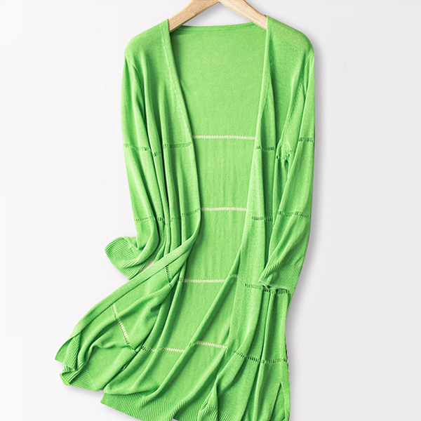 Open Style Full Sleeves Long Cardigan - Green
