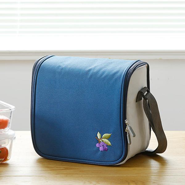 Zipper Closure Lunch Box Bags - Dark Blue