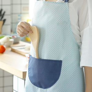 Polka Dots Kitchen Apron With Pocket - Two Colors