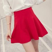 Pleated Mini Length Formal Wear Skirt - Red