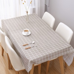 Check Prints Easy Cleaning Table Cover - Khaki