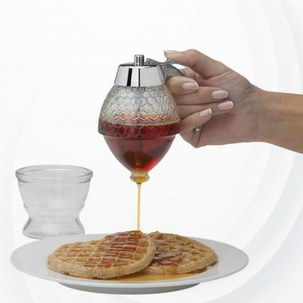 Creative Honey Hive Pattern Syrup Dispenser With Stand