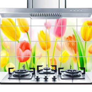 Printed Oil Resistant Stove Wall Protector - Tulip Flowers