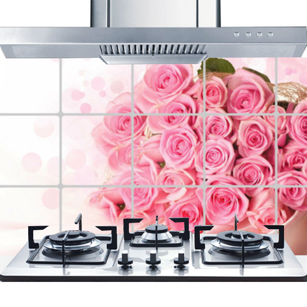 Printed Oil Resistant Stove Wall Protector - Pink Roses